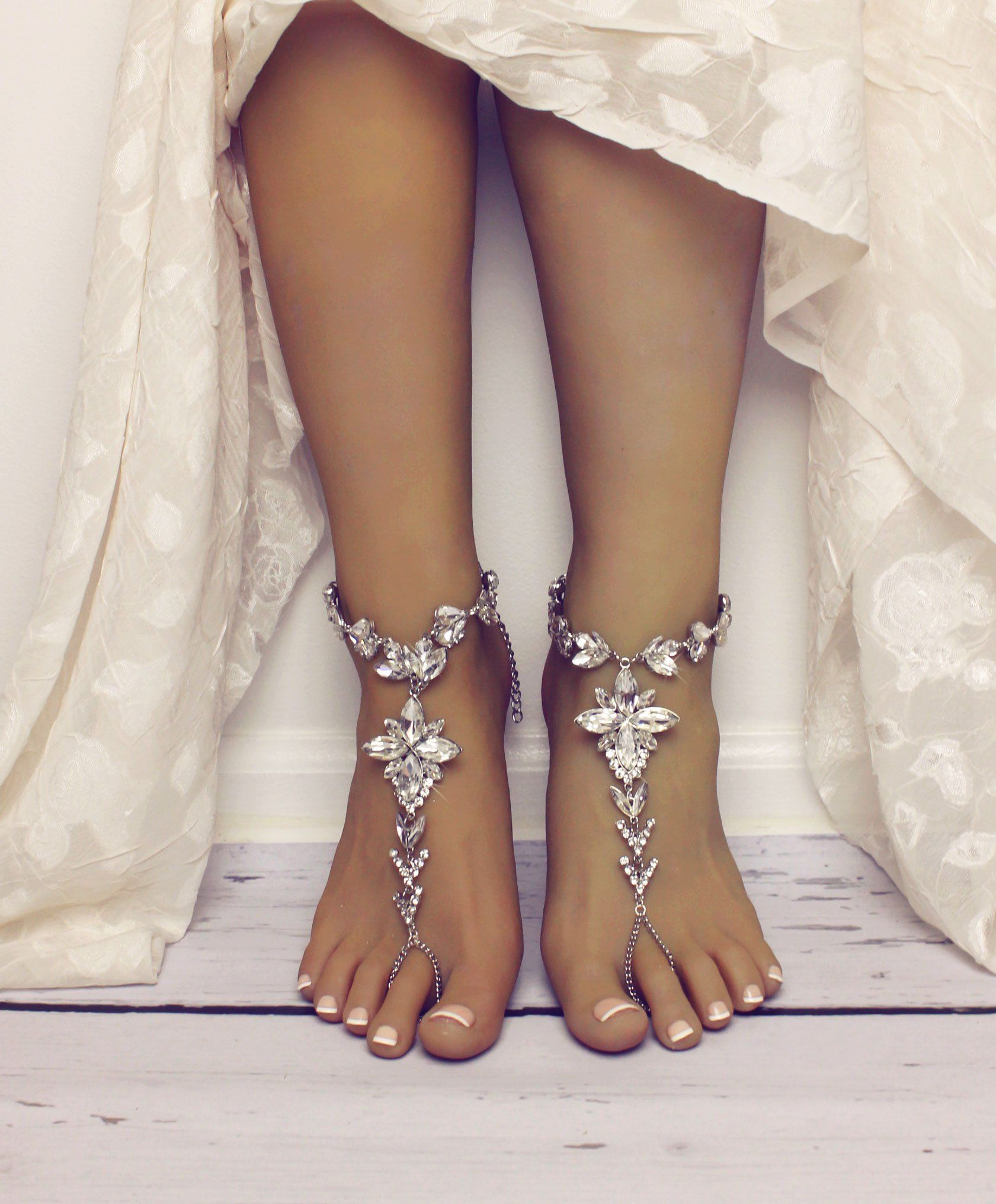 Jasmine Silver Barefoot Sandals Foot Jewelry Bling Bling With