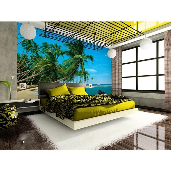coconut tree beach wall mural self adhesive sticker wall on wall stickers for hall id=64258