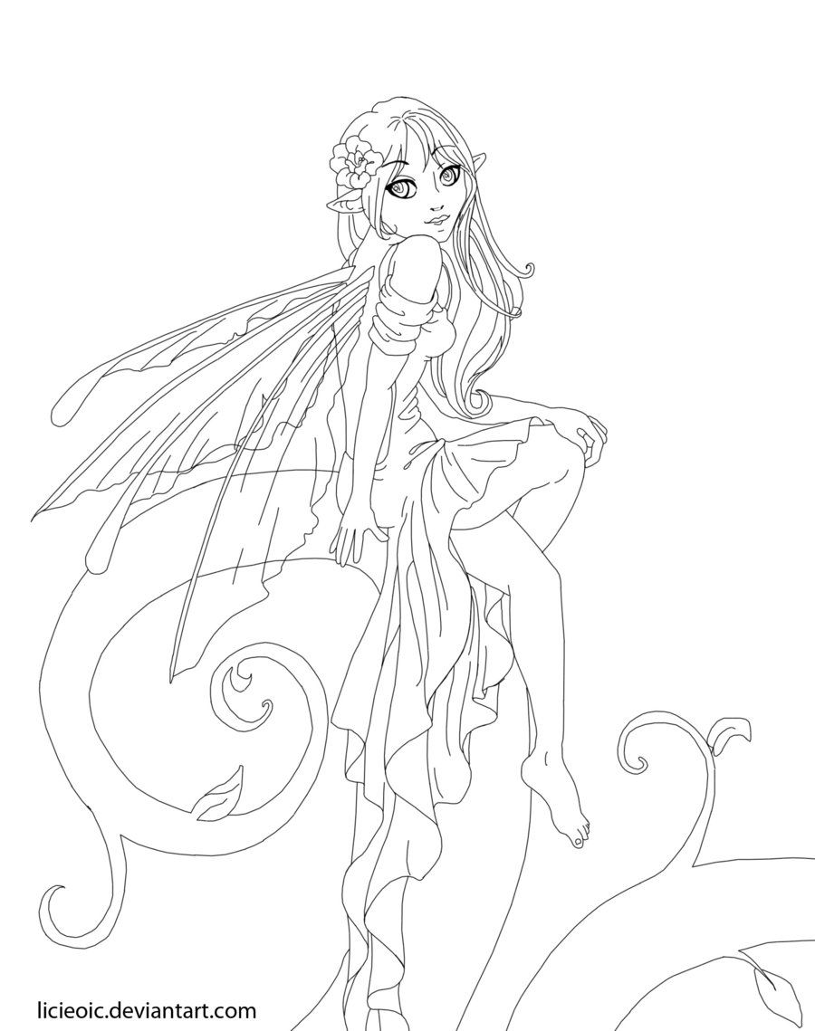 Beautiful Coloring Pages for Adults | Pretty Fairy by LicieOIC on ...