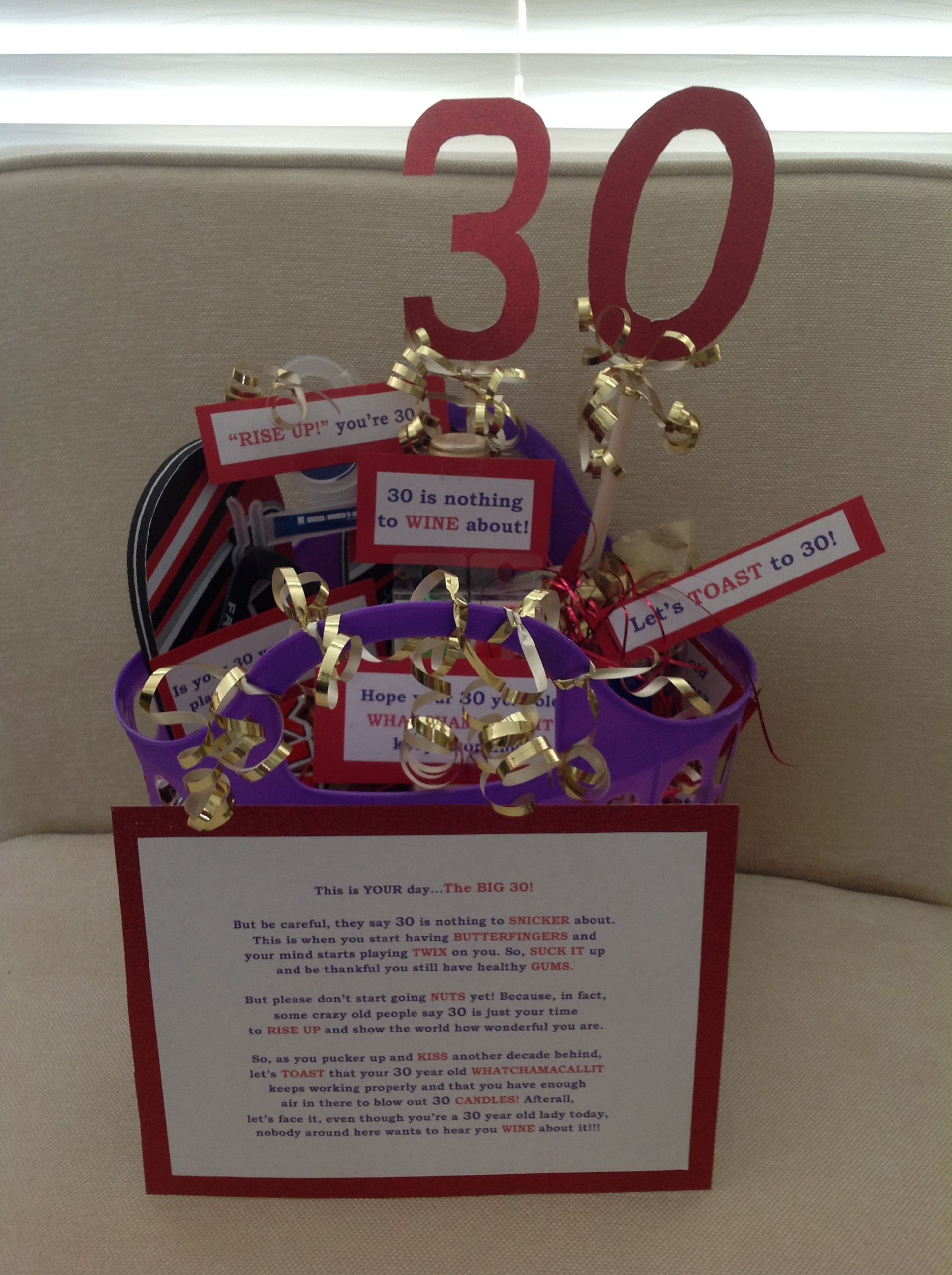30th Birthday Gift Basket Easy Diy And So Fun Gifts