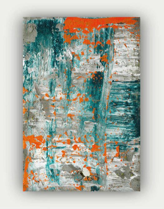 Abstract Art Teal Orange Grey Gray Concrete Cement White Modern Contemporary Canvas Wall Art Canvas Wall Art Contemporary Abstract Art Painting Textured Canvas Art