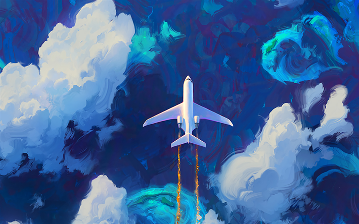 Download wallpapers plane, art, blue sky, clouds