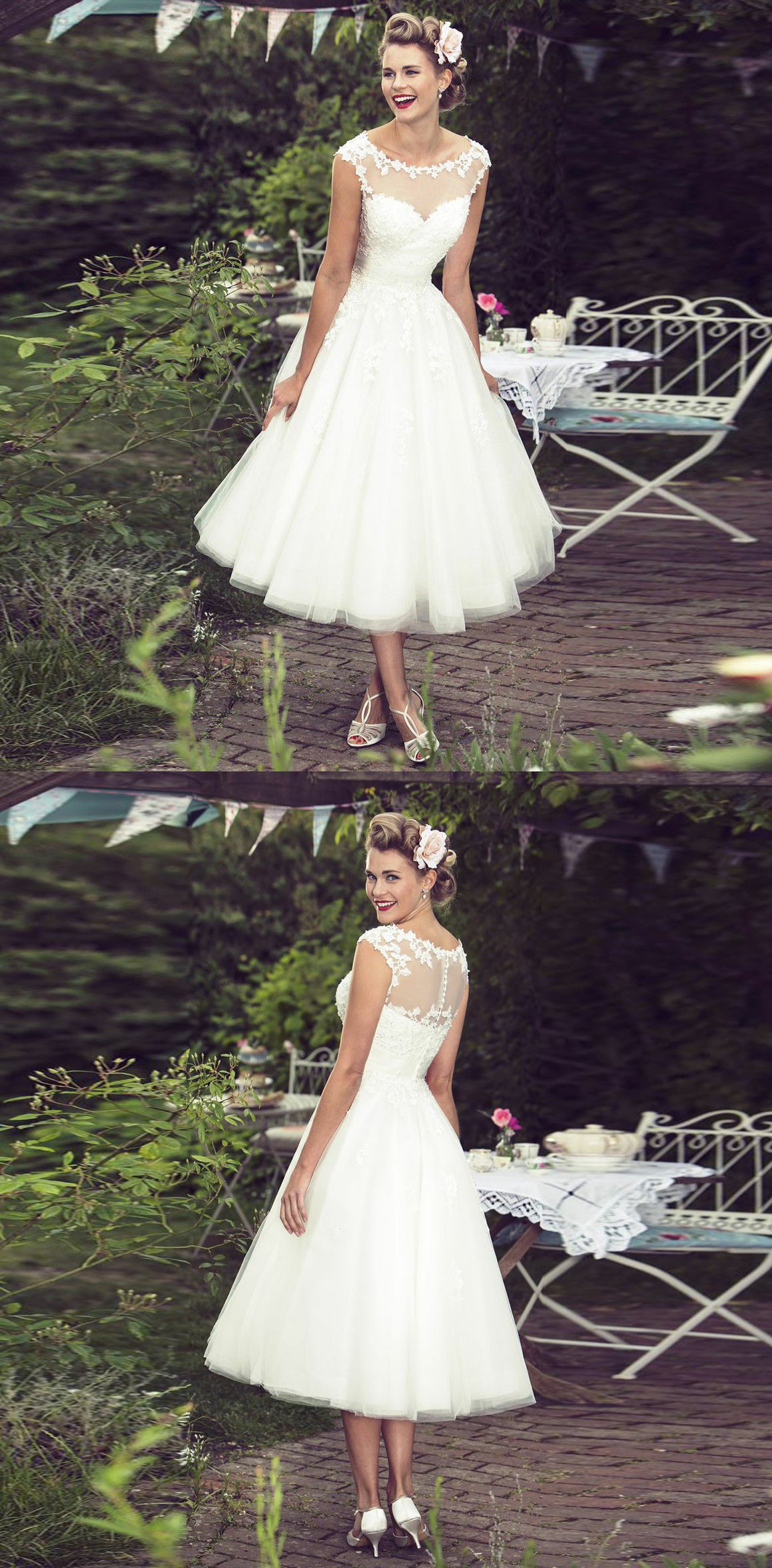 A Line Bateau Cap Sleeves Mid Calf Tulle Hall Wedding Dress With