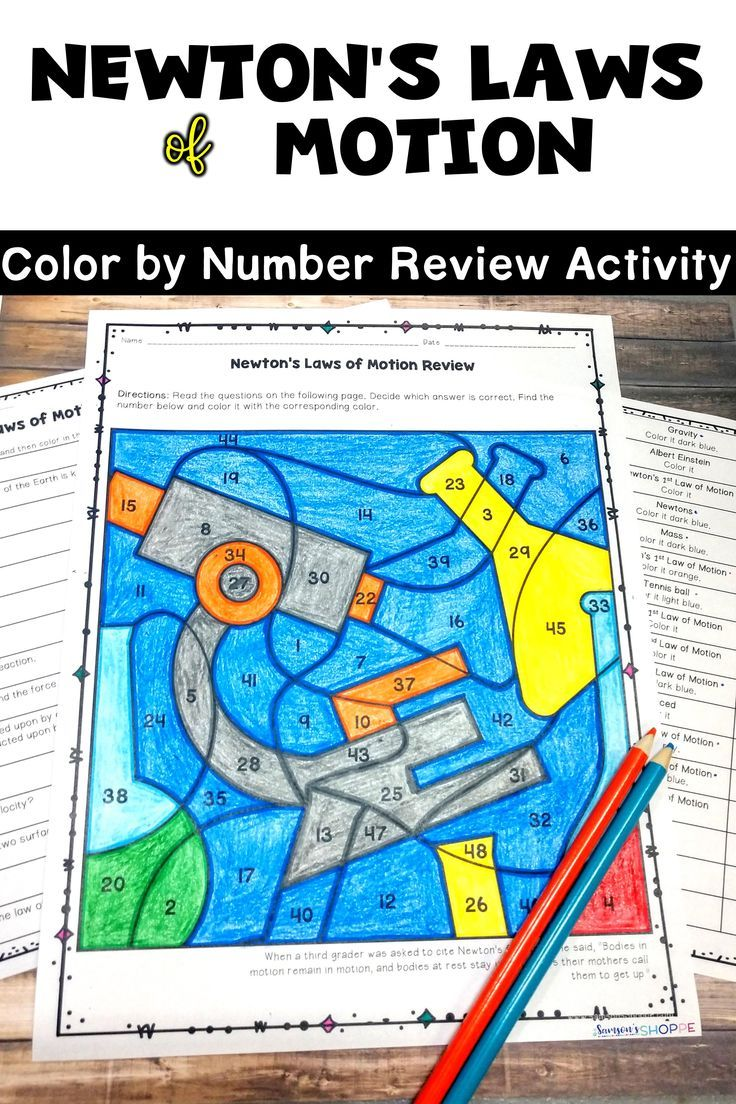Newton\'s Laws of Motion EDITABLE Color by Number Review Activity in ...