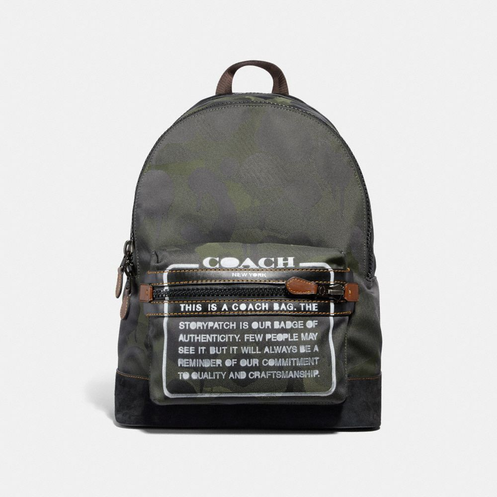 Coach academy backpack in cordura fabric with wild beast print and storypatch military black antique nickel