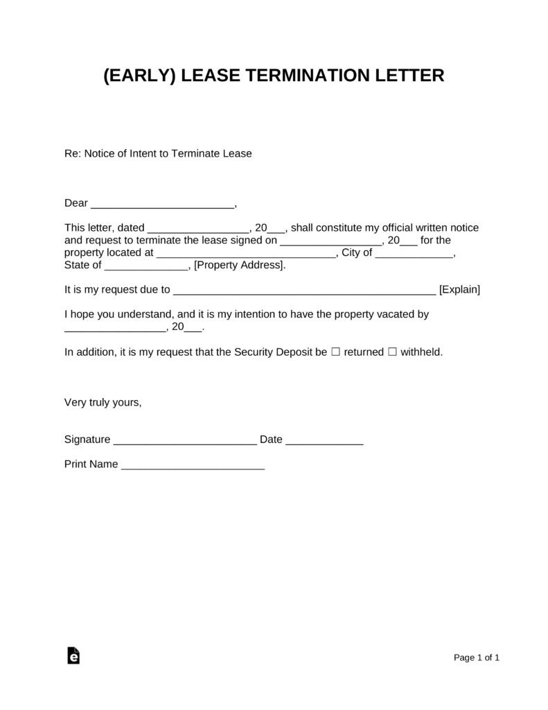 Apartment Lease Buyout Letter New Termination Letter Template