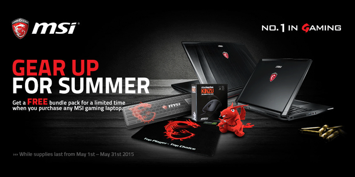 FREE GIFTS With Purchase of Any MSI Gaming Laptop at CUKUSA.com.  While Supplies Last