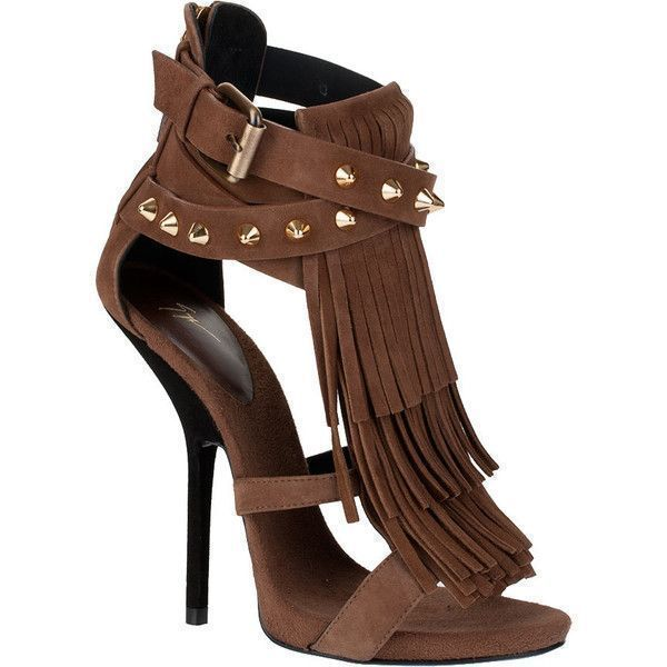 82652a67d345 Giuseppe Zanotti Fringed Studded Suede Sandal (€615) ❤ liked on Polyvore  featuring shoes