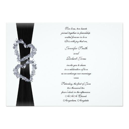Black Ribbon And Diamond Hearts Wedding Invitation Zazzle Com Heart Wedding Invitations Black And White Wedding Invitations Heart Wedding