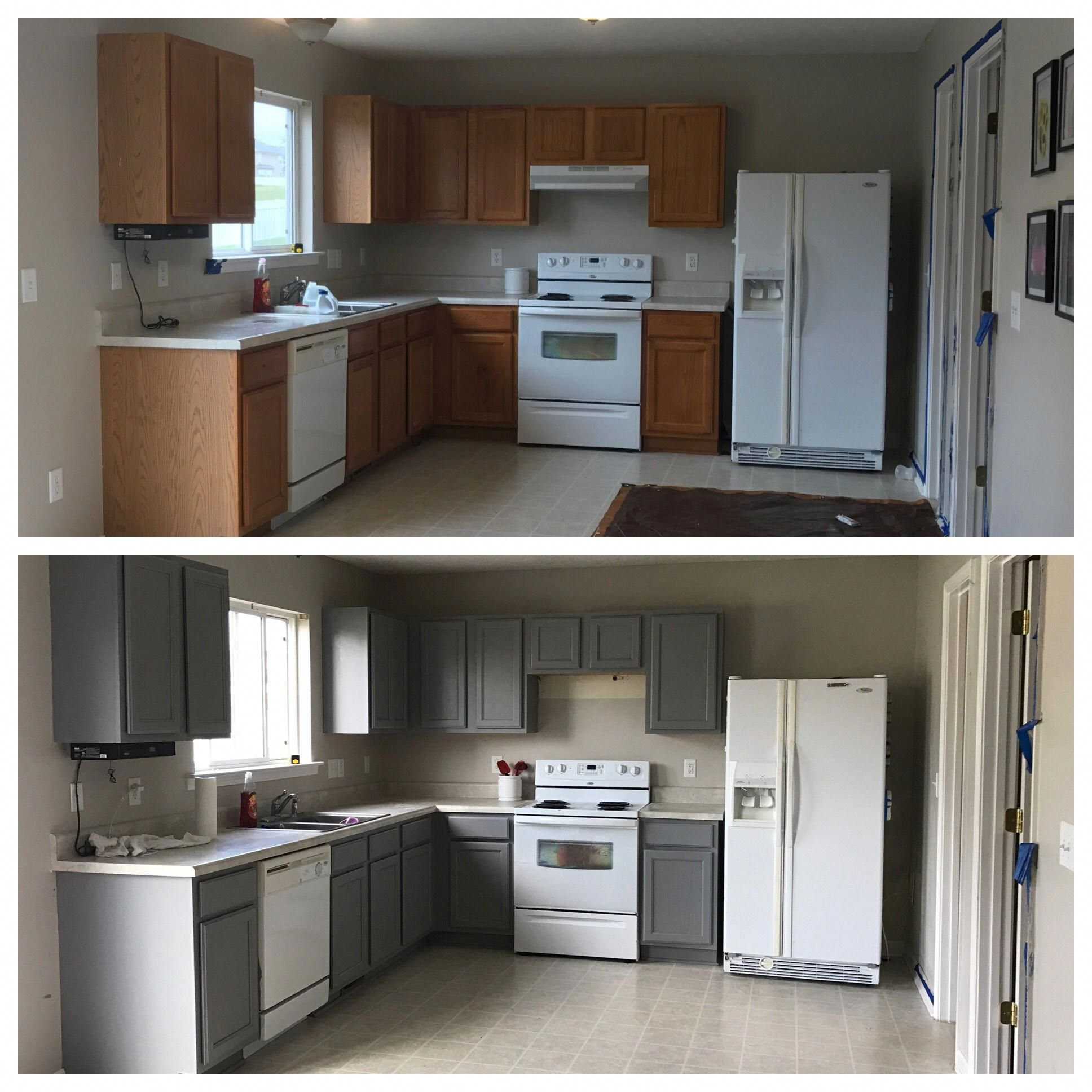Best Behr Anonymous Paint Cabinets Grey Kitchen Before And 400 x 300