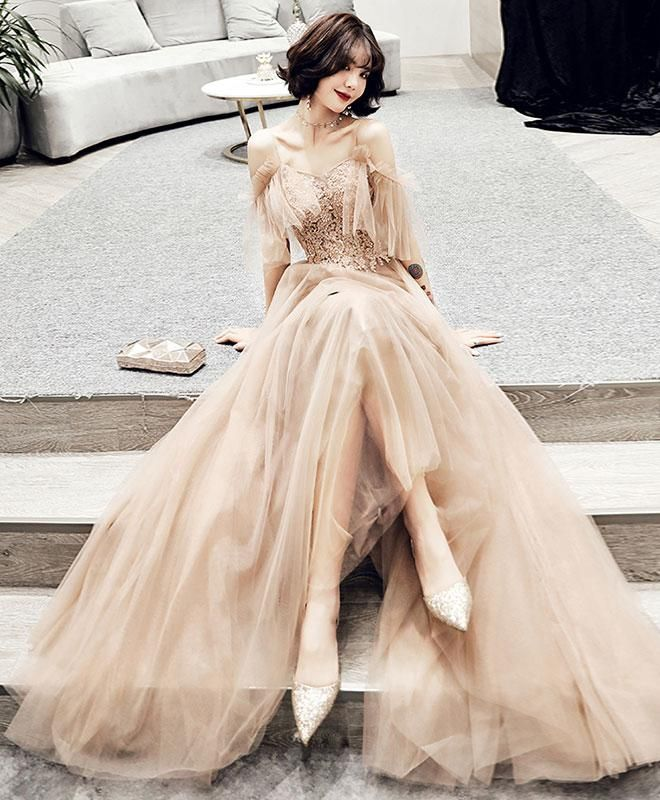 Champagne tulle lace long prom dress, champagne evening dress -   17 prom dress Korean ideas