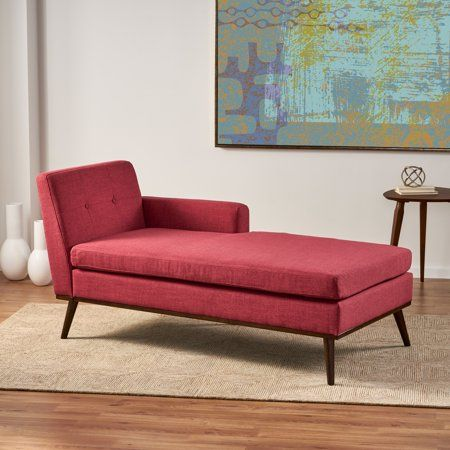 Noble House Stella Mid Century Modern Fabric Chaise Lounge Red Walmart Com In 2020 Mid Century Modern Chaise Lounge Tufted Chaise Lounge Mid Century Modern Fabric