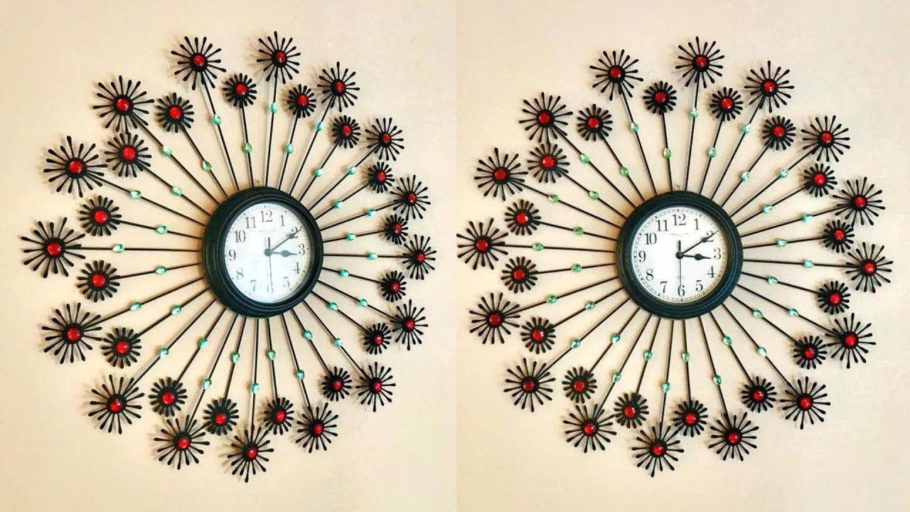 Diy Floral Designer Wall Clock Using Cotton Buds Home Decoration