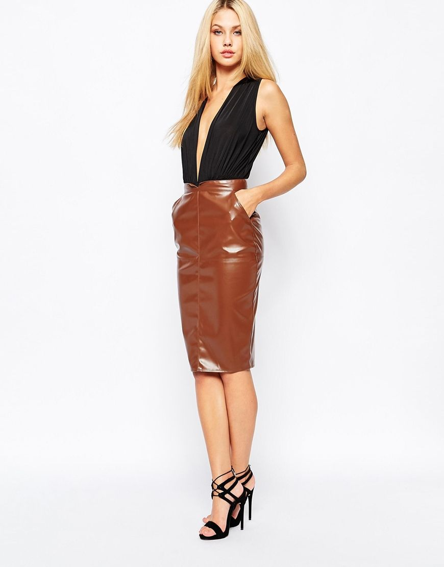Brown faux leather pencil skirt – Modern skirts blog for you