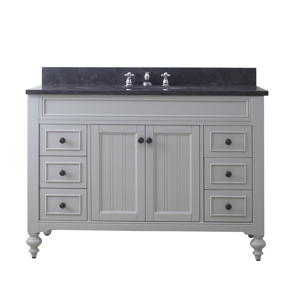 Water Creation Potenza 48 In W X 33 In H Vanity In Earl Grey With Granite Vanity Top In Blue Limestone With White Basin And Faucet Bathroom Sink Vanity Single Sink