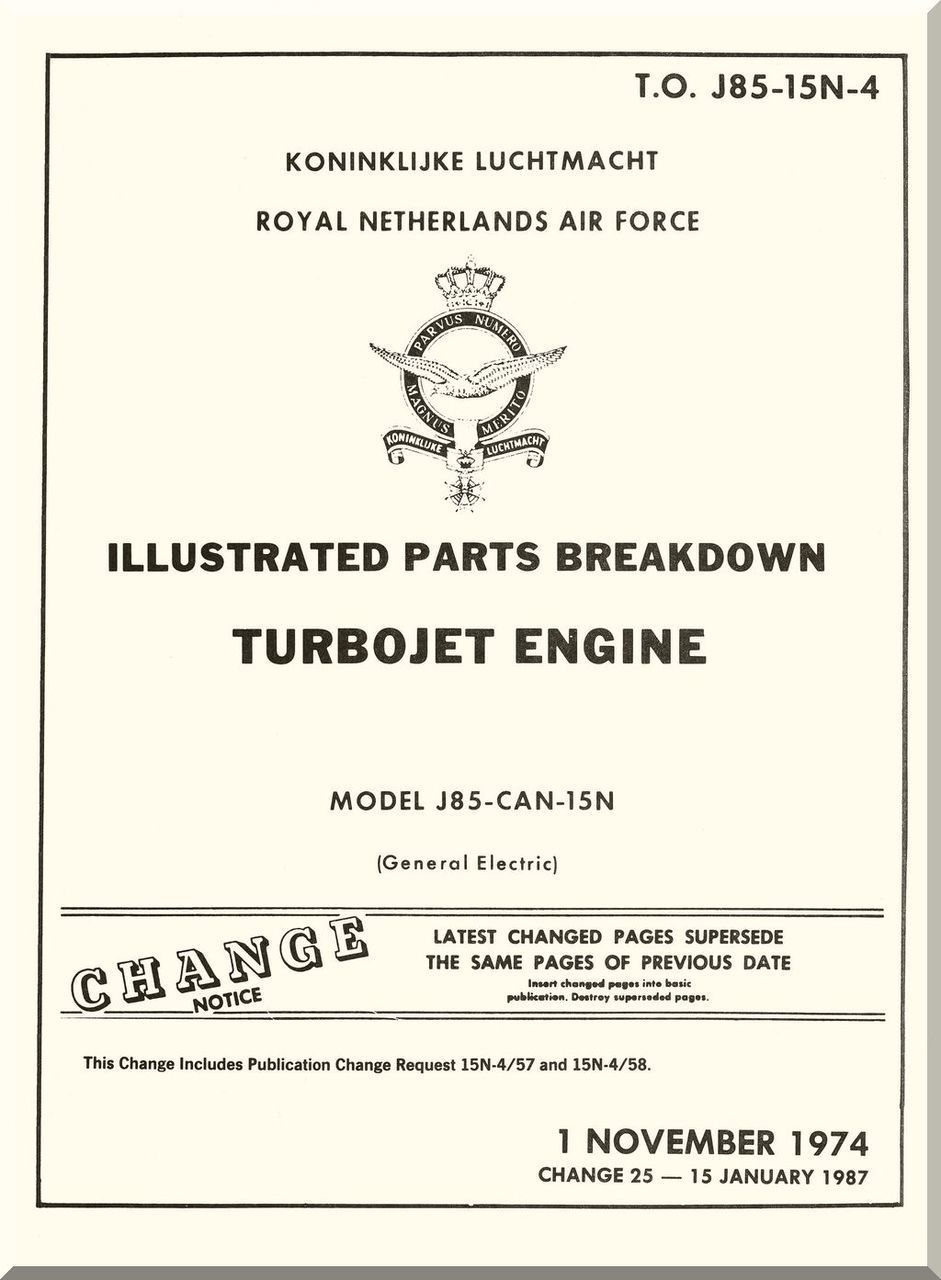 GE J85 Aircraft Turbo Jet Engine Illustrated Parts Breakdown