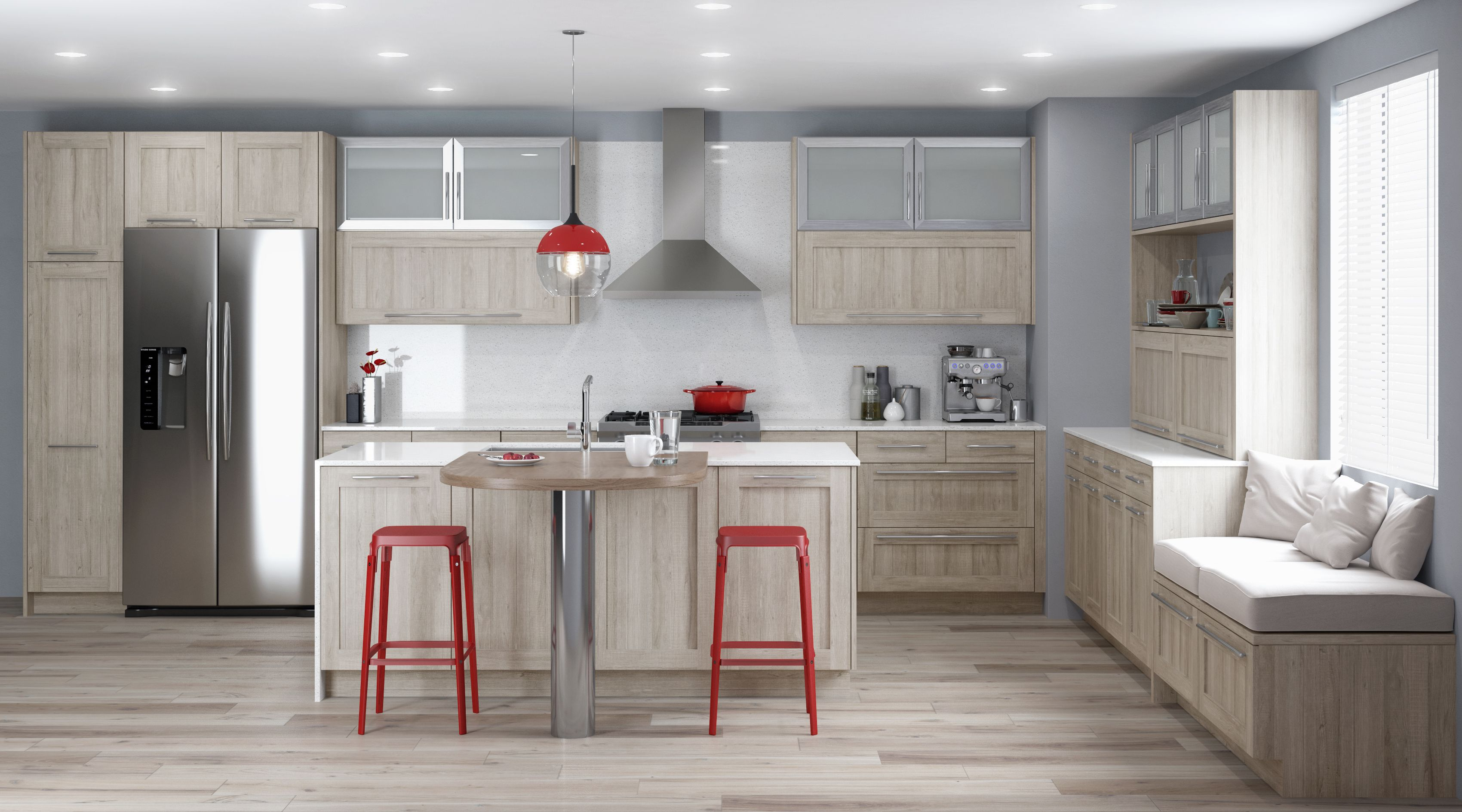 Parma Textured Laminate Coastal Coastal Kitchen Cabinets Kitchen Cabinets Contemporary Walnut Kitchen