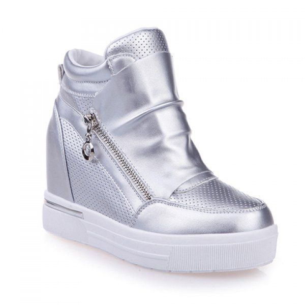 Fashion Solid Color and Zipper Design Women's Wedge Sneakers