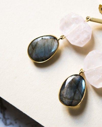 a20d203799d9 TEAR PENDIENTES RO-GR. Elegantes pendientes de plata bañada en oro con  piedras naturales