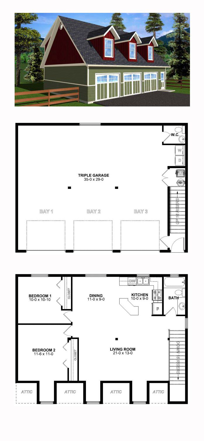 3 Car Garage Apartment Plan Number 99939 with 2 Bed, 2 Bath ...