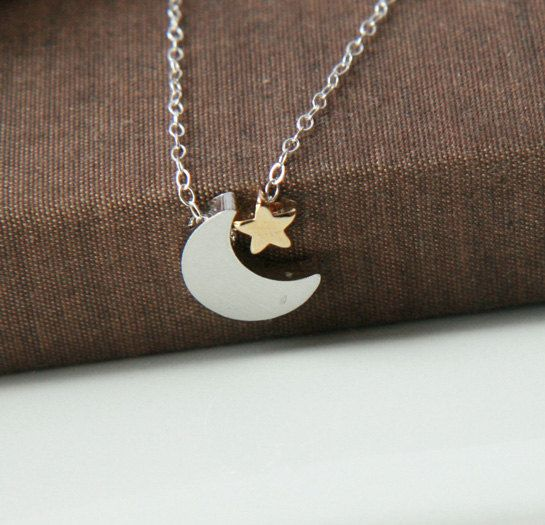 Silver Necklace, Sterling Silver Chain, Silver Moon Star, Moon Star Necklace, Silver Crescent Star, Dainty Necklace, Tiny Star Jewelry    https://www.etsy.com/listing/166590748/silver-necklace-sterling-silver-chain