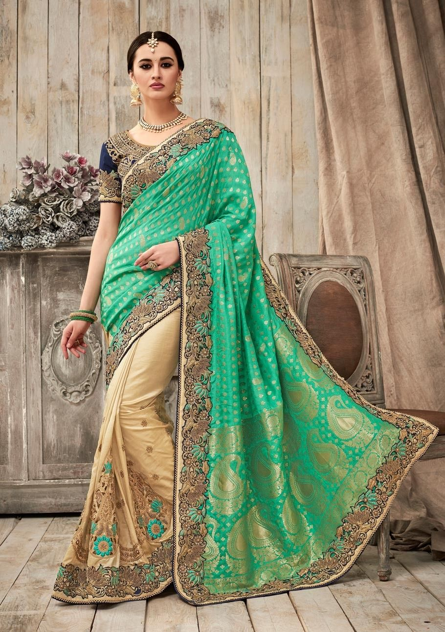Green Beige Half And South Indian Art Silk Saree With Blouse