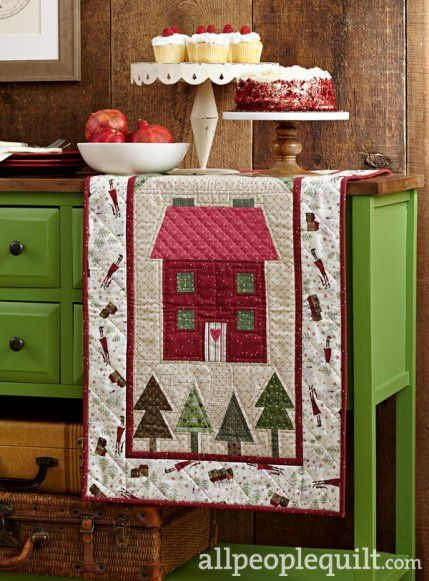 Christmas Cottage by @peddlecar. Fabrics are from the Winter Village collection by Lynette Anderson for @rjrfabrics.