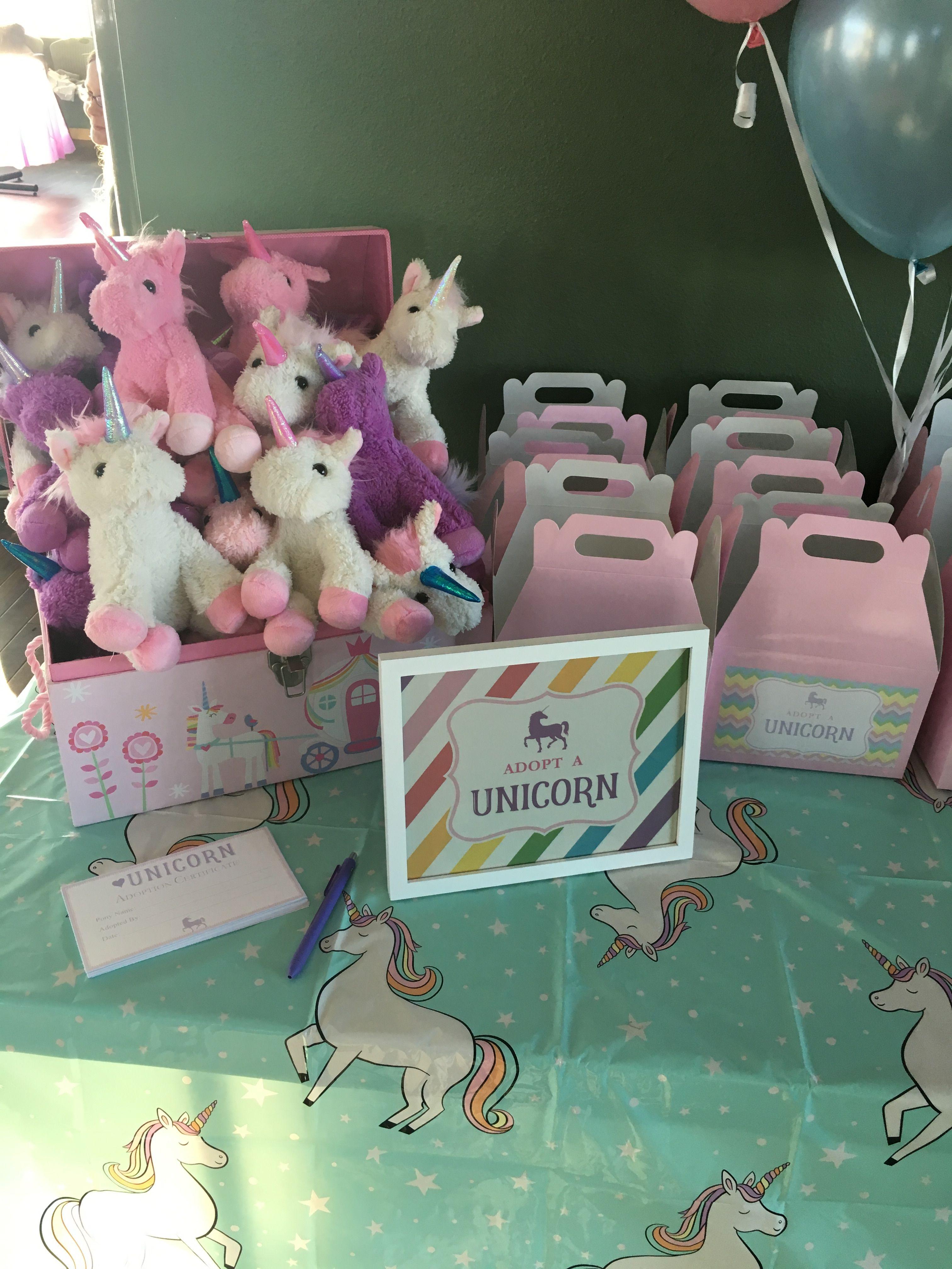 Unicorn party Plush unicorns in a chest from Burlington coat factory