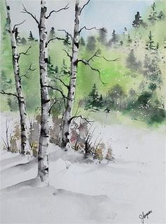 "Daily Paintworks - ""Original Watercolor Painting- Maine Landscape"" - Original…"
