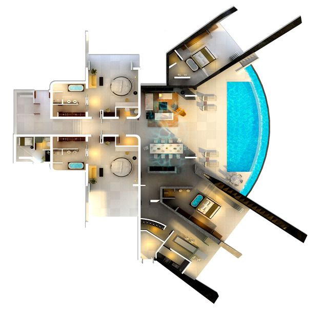 Home With Infinity Pool And Glass Bottomed Pool Rendered In 3d Floor Plan Design Kitchen Interior Design Modern Architect Design