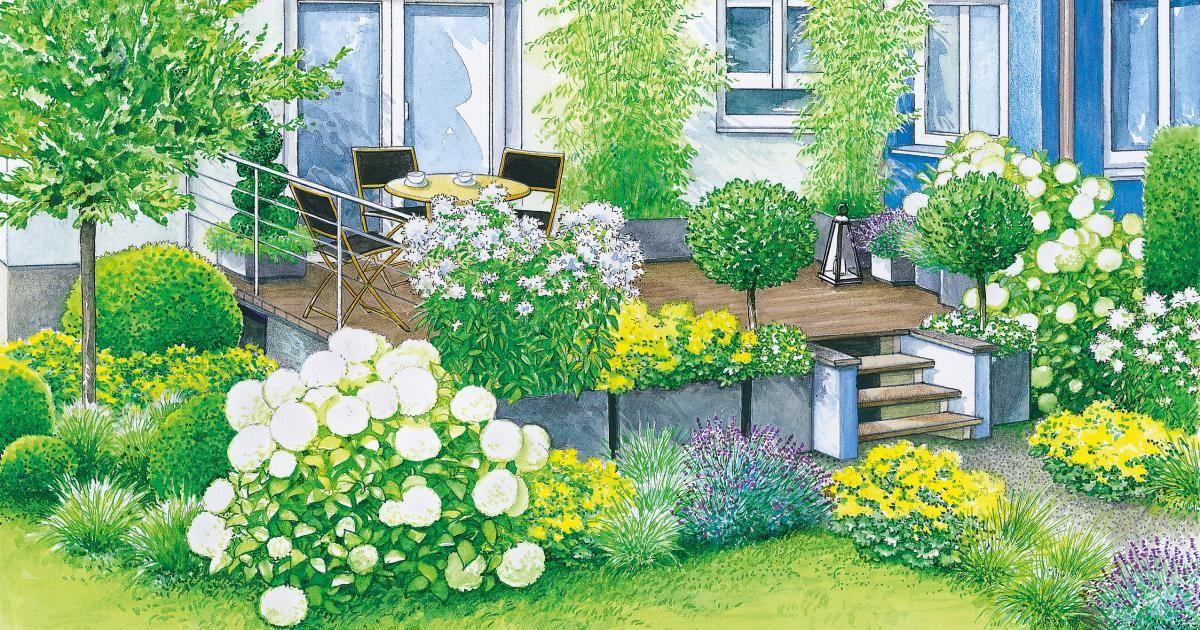 Harmonische terrassen gestaltung garten pinterest garten garten ideen und terrasse - Pflegeleichter hanggarten ...