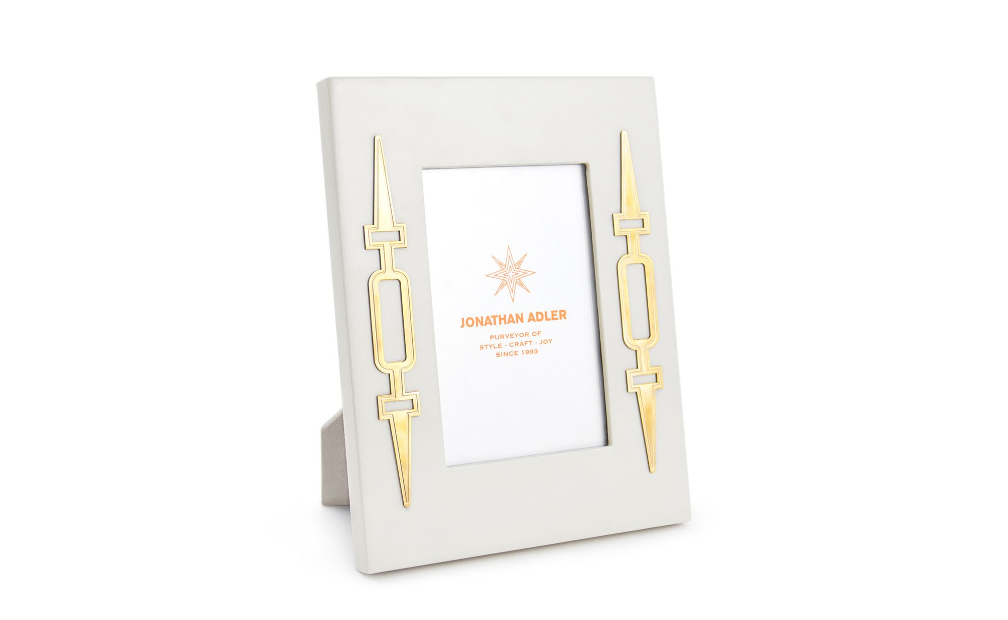 The Jonathan Adler Turner Frame is glossy ivory lacquer combined ...