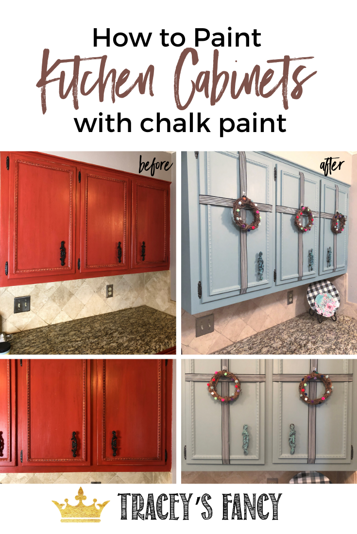 Painting Kitchen Cabinets With Chalk Paint Tracey S Fancy In 2020 Chalk Paint Kitchen Cabinets Red Kitchen Cabinets Chalk Paint Kitchen