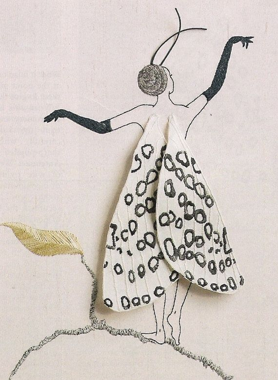 ♒ Enchanting Embroidery ♒ embroidered Butterfly Girl Hypercompe Scribonia Hand Embroidery by Taetia