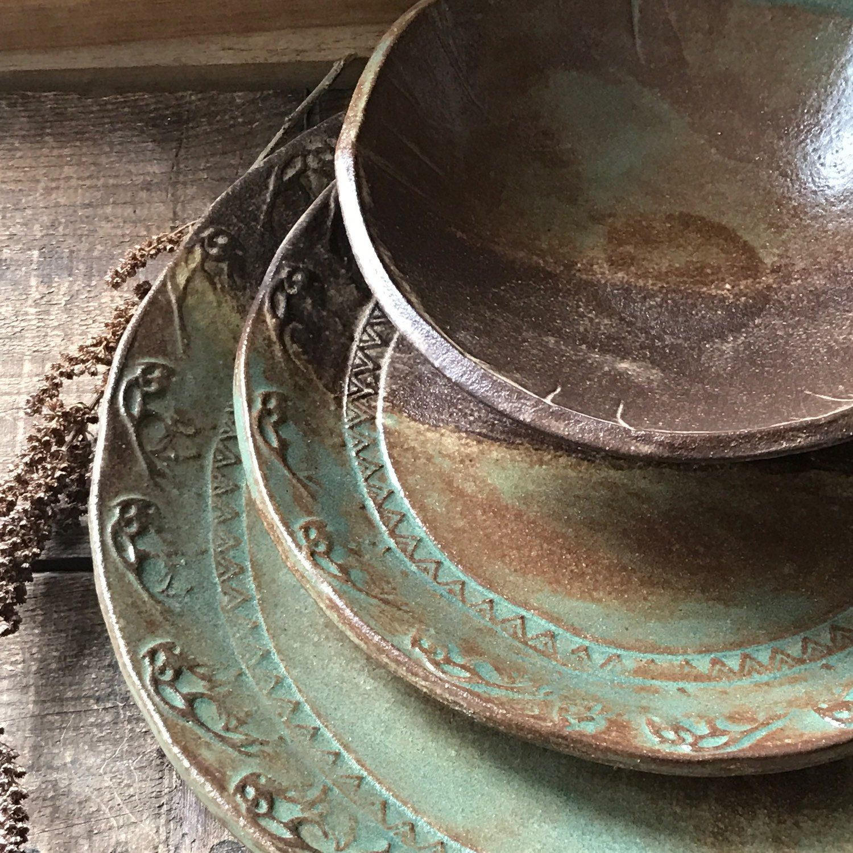Wild Buffalo Dinnerware Set ~ Native American ~ Dinner & Salad Plate ...