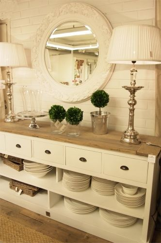 Great Use For Dishes Repurpose A Dresser Or Sofa Table Into Buffet