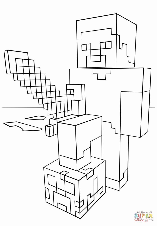 Minecraft Steve Coloring Page Lovely Minecraft Steve With Diamond Sword Coloring Page Raskraski Raznoe Shablony