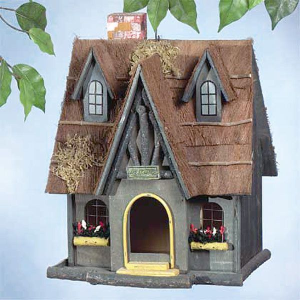 Vintage Thatch Roof Cottage Bird House