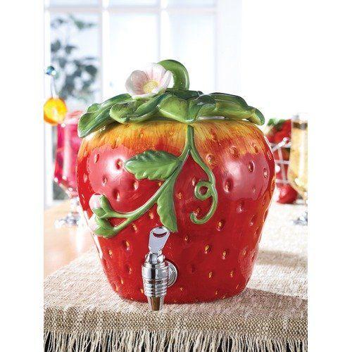 American Atelier Ceramic Strawberry Beverage Dispenser | Gift & Card ...