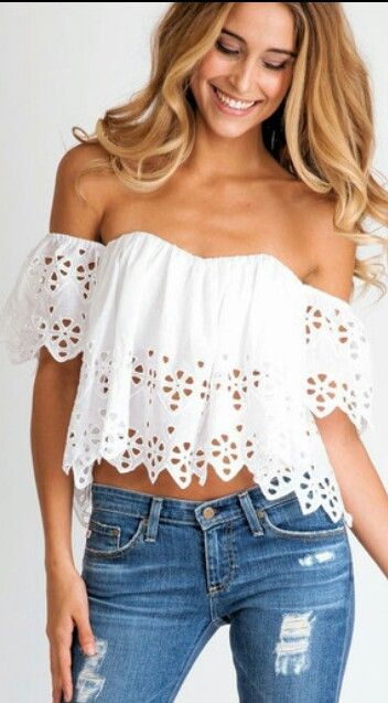 868fd30fc Blusa blanca estilo campesina | tendencias | Blusas, Blusas ...