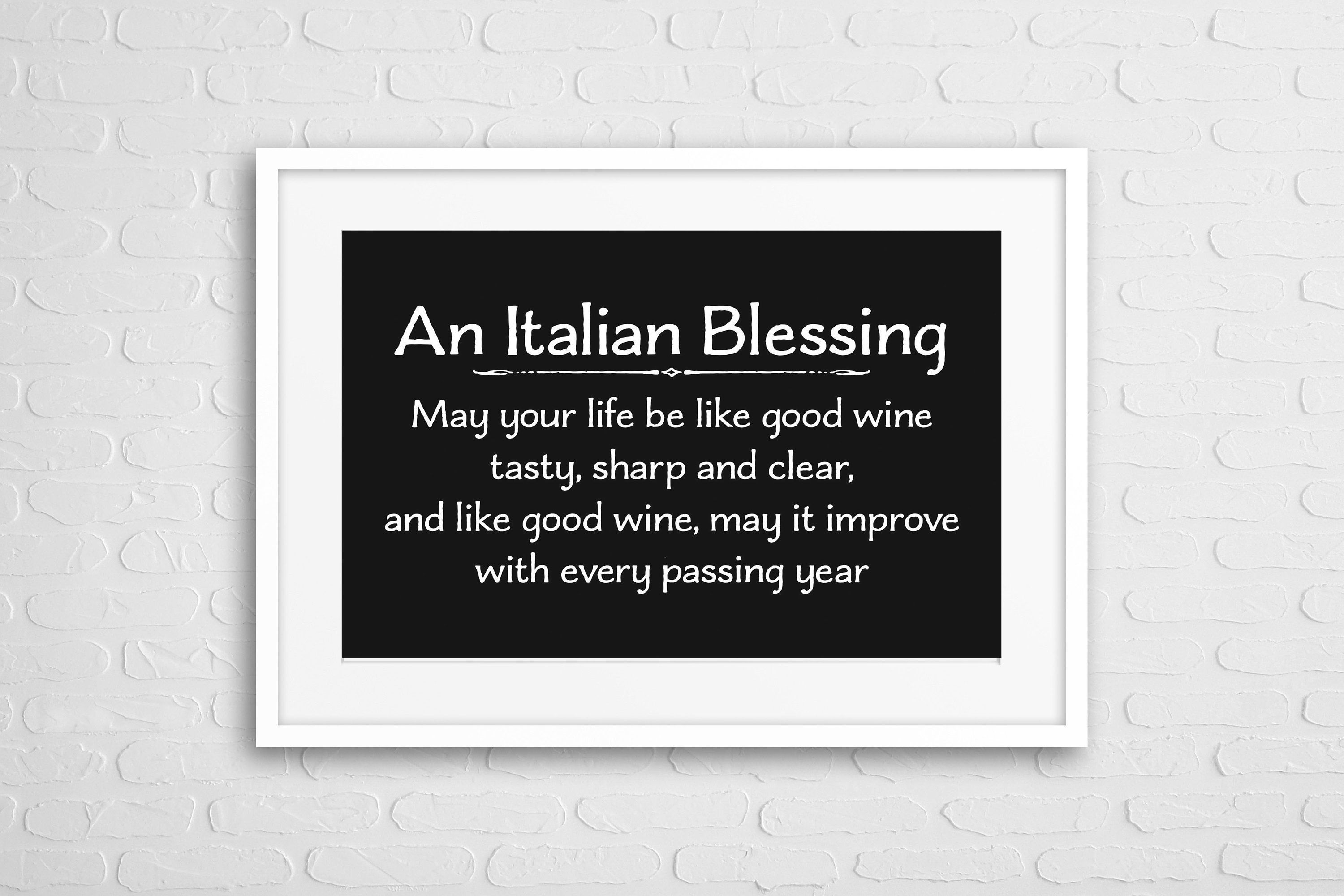 Italian blessing quotes wall art modern design