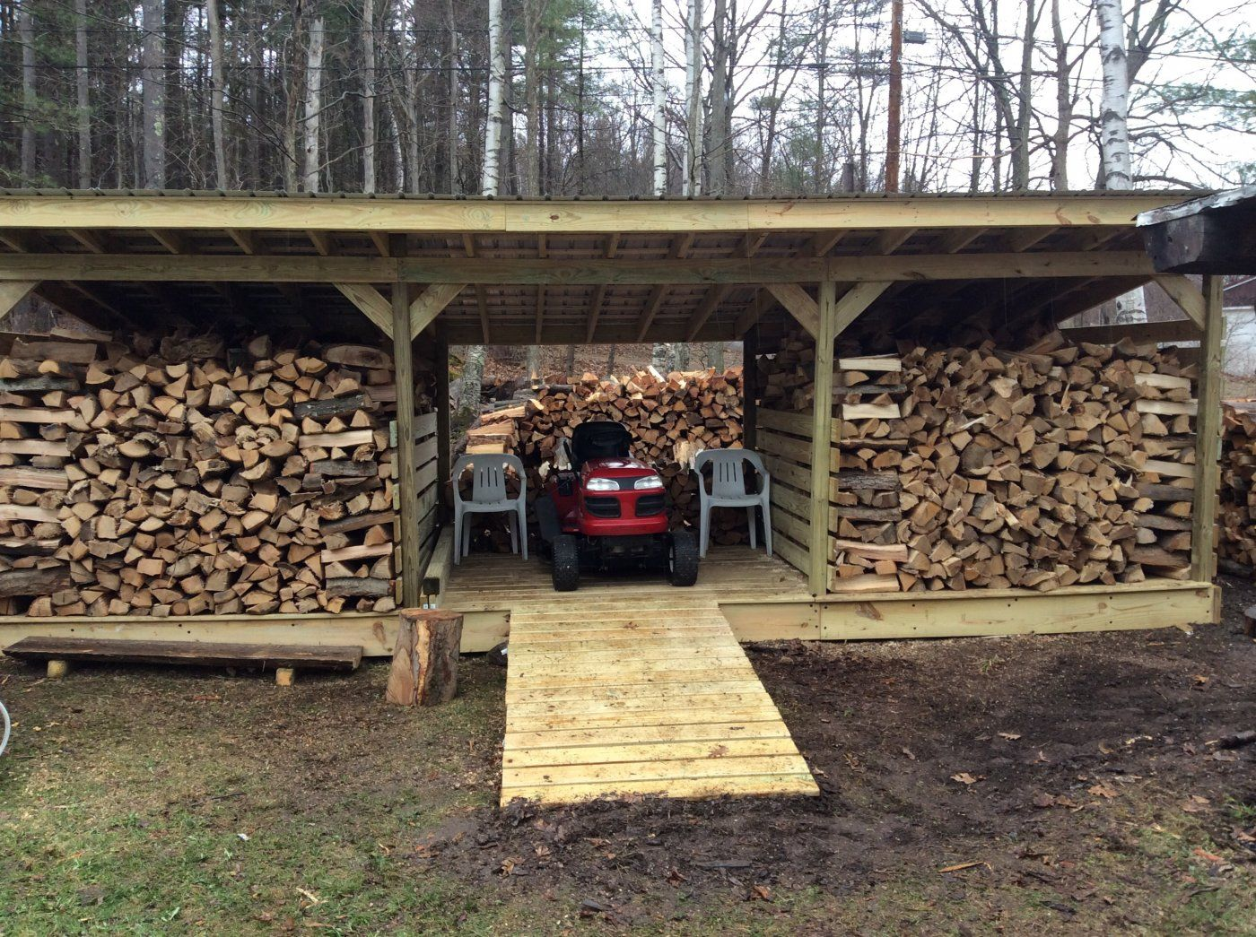 Firewood lawn equipment storage outside the house for Outdoor wood shed