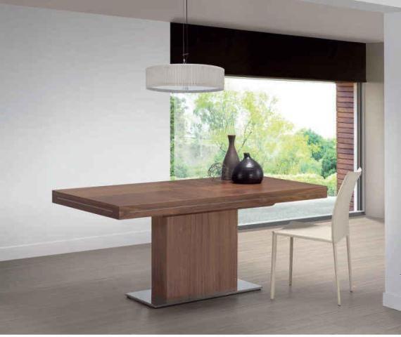 Mesa de madera rectangular con único pie central. | accesorios y ...