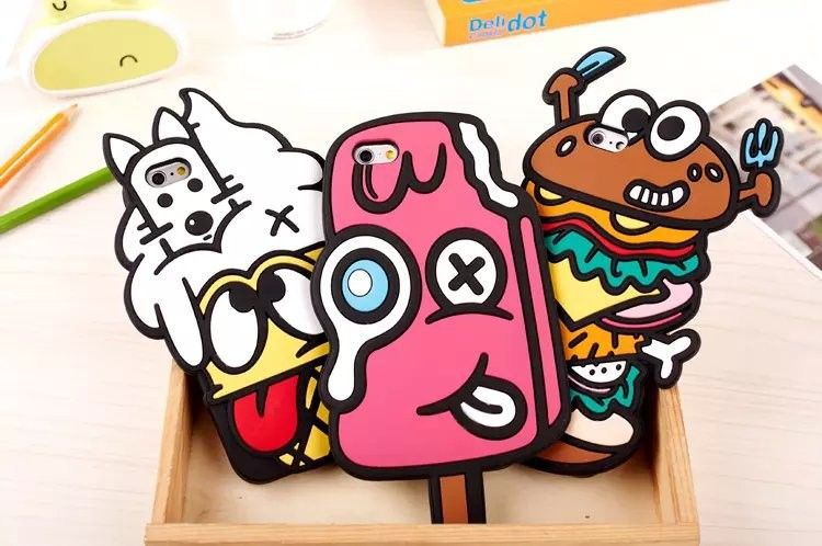 3 Characters available 1. Ice Cream Dog 2. Popsicle 3. Double Burger Only for iPhone 5, 5s, & 6 (4.7in) Made of high quality silicon rubber