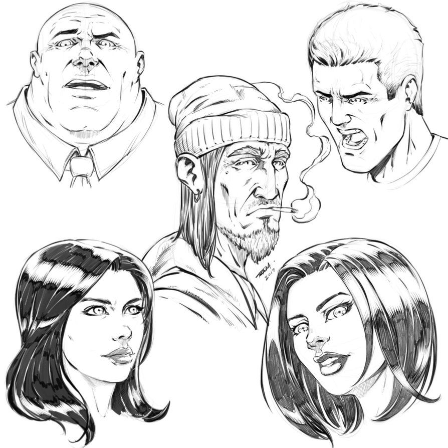 Sketches Of Comic Book Style Faces By Robertmarzullo Deviantart Com On Deviantart Comic Book Style Cartoon Style Drawing Comic Drawing