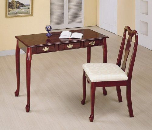 Cherry finish queen anne writing desk and chair set by AMBfurniture