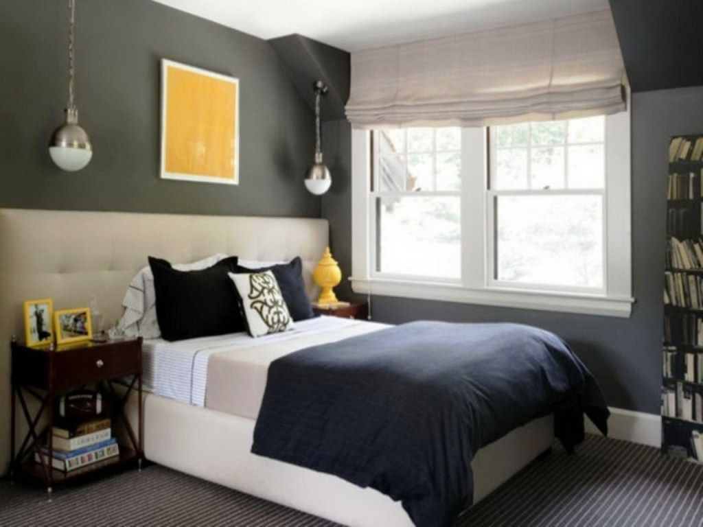 bedroom grey accent wall colors for contemporary narrow bedroom