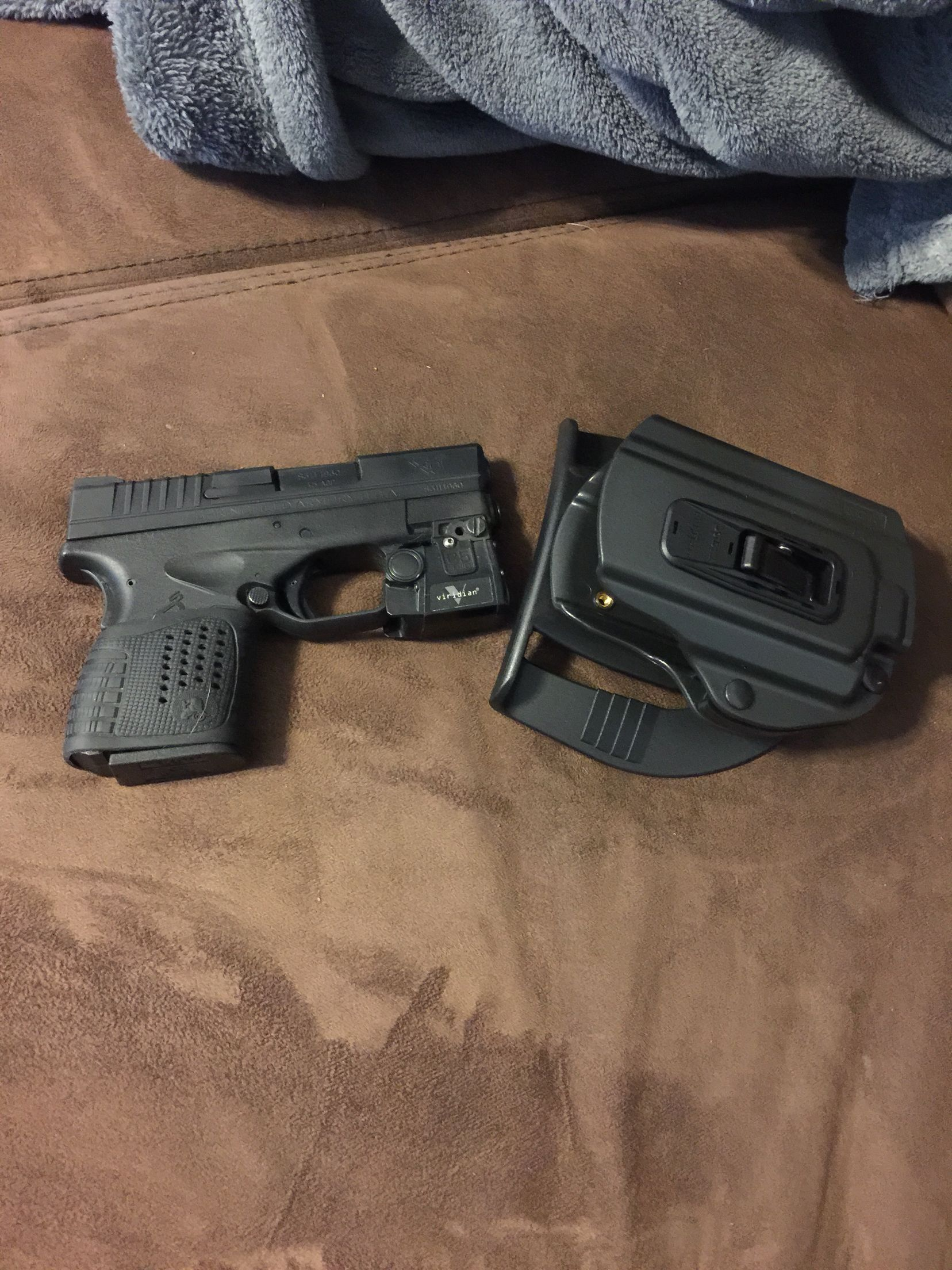 Springfield xds  45 3 3 with veridian light and locking holster