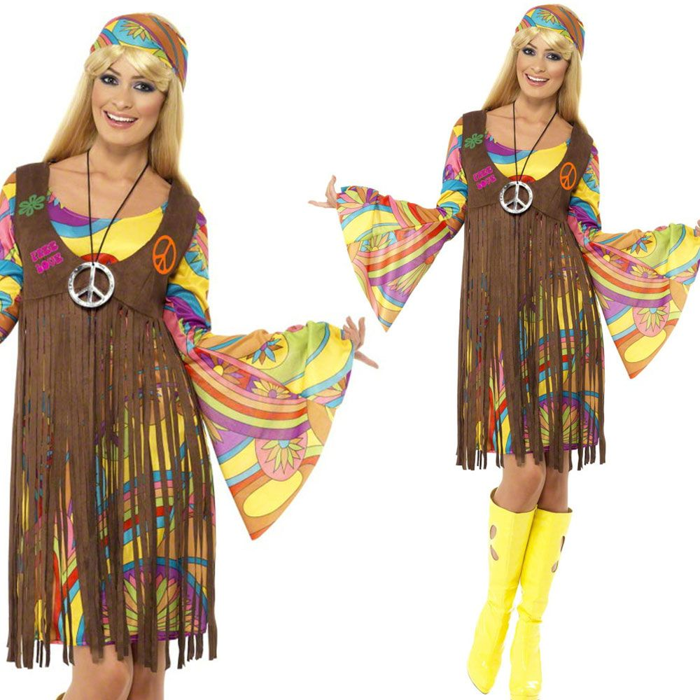 Tie Dye 1960s Ladies Fancy Dress Hippy Costume 60s Psychedelic Hippie Outfit