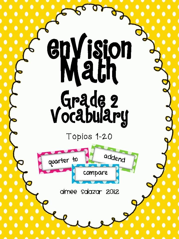 EnVision Grade 2 Vocabulary words for Math WallFREE